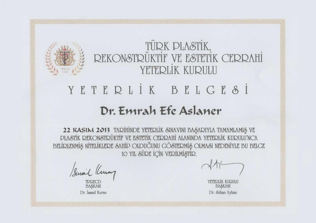 Emrah Efe Aslaner Plastik Cerrahi Yeterlilik Belgesi